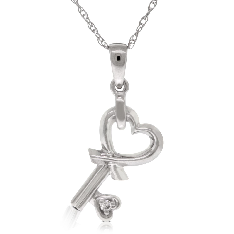 Diamond heart key pendant 14k ben bridge jeweler diamond heart key pendant 14k mozeypictures Images