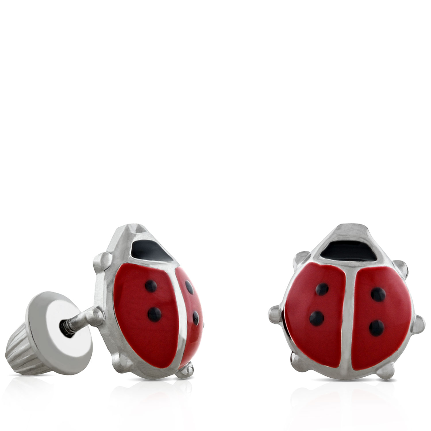 Images Baby Ladybug Earrings In Silver
